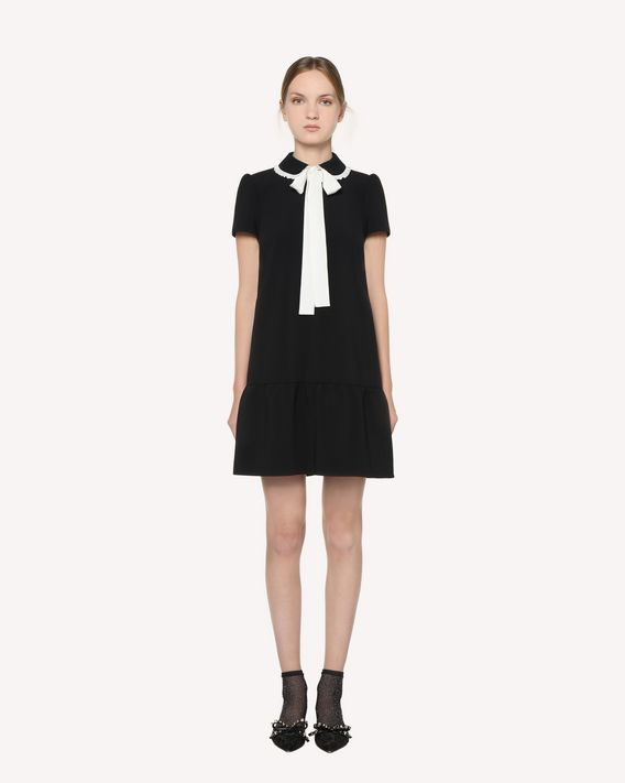 REDValentino  Techno Fluid dress with rounded collar and bow