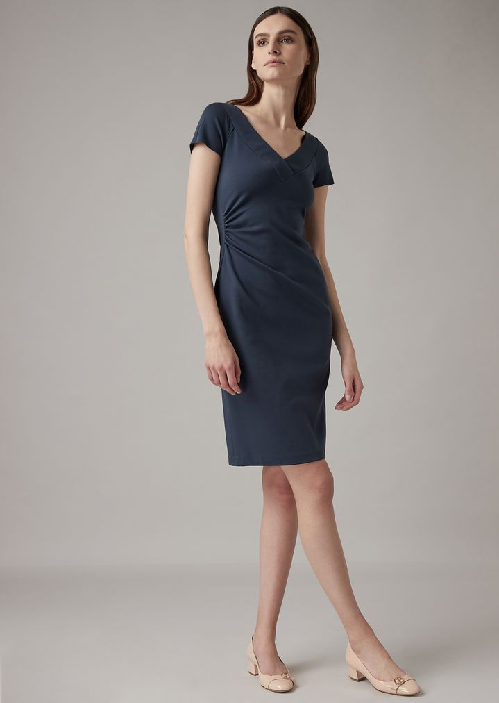 36ac4bec8750 Milano knit jersey dress with side pleats