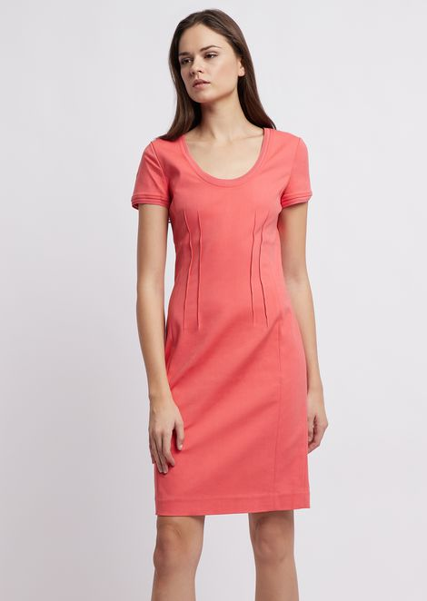 Sheath dress with decorative raised stitching