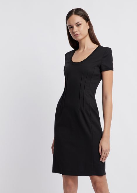 Sheath dress with decorative raised stitching