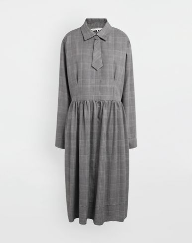MM6 MAISON MARGIELA Checked necktie maxi dress 3/4 length dress [*** pickupInStoreShipping_info ***] f
