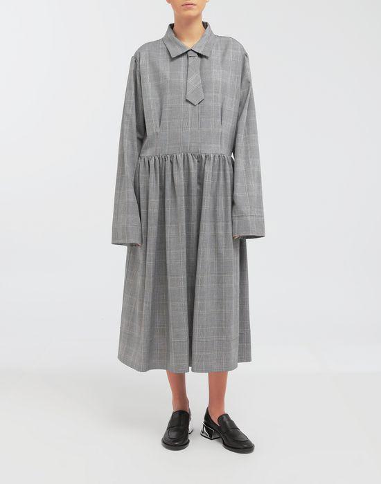 MM6 MAISON MARGIELA Checked necktie maxi dress 3/4 length dress [*** pickupInStoreShipping_info ***] r