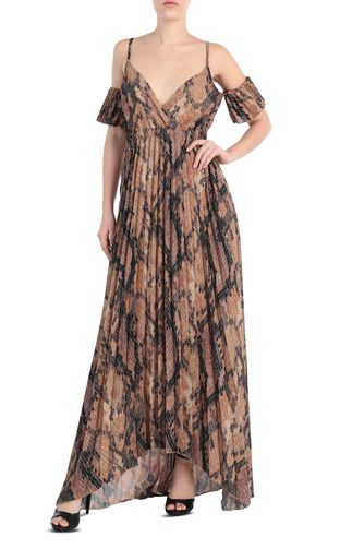Long pleated dress in python print