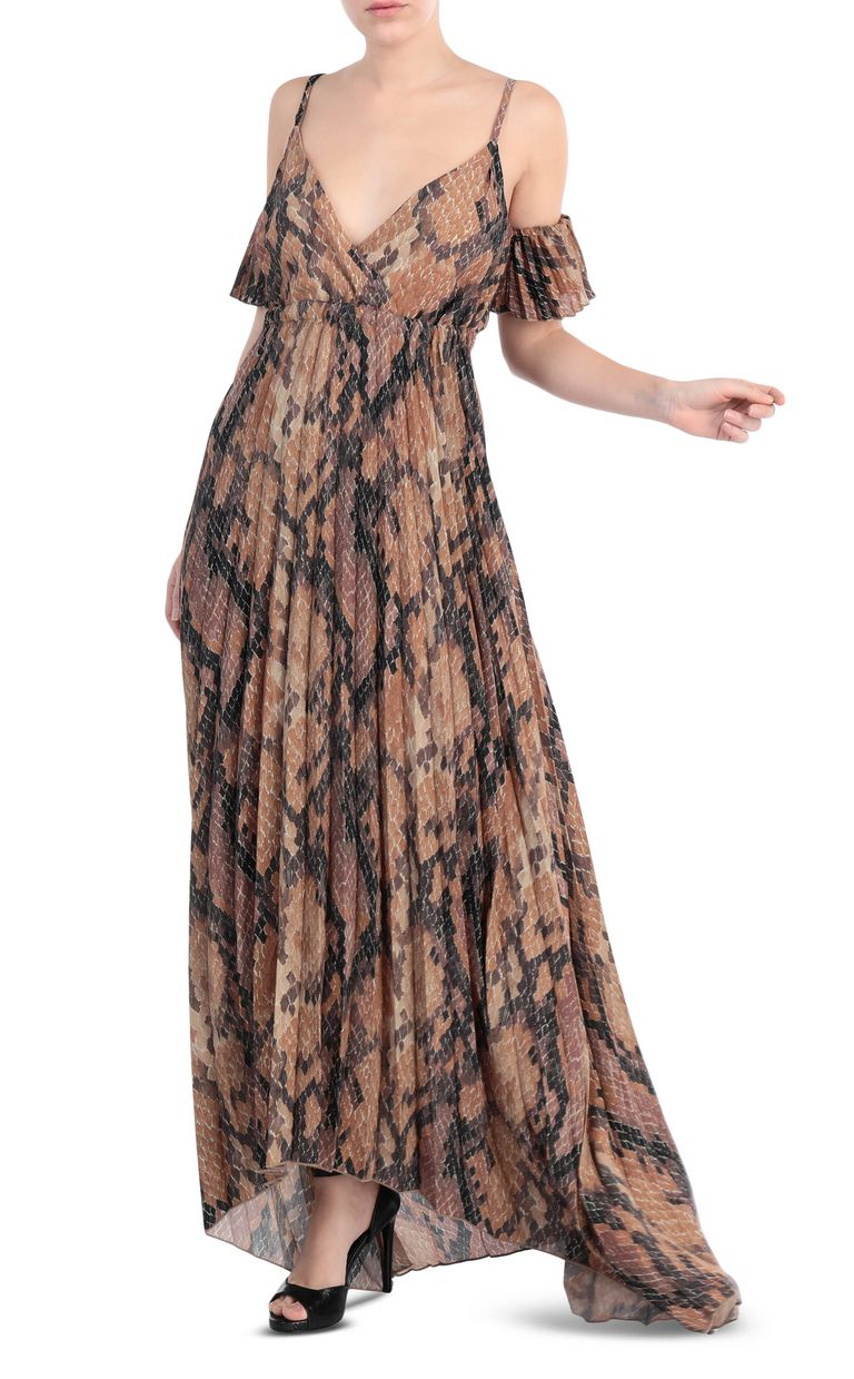 JUST CAVALLI Long pleated dress in python print Long dress Woman d