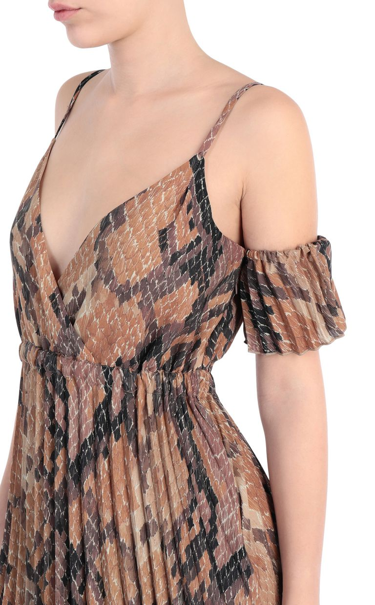 JUST CAVALLI Long pleated dress in python print Long dress [*** pickupInStoreShipping_info ***] e