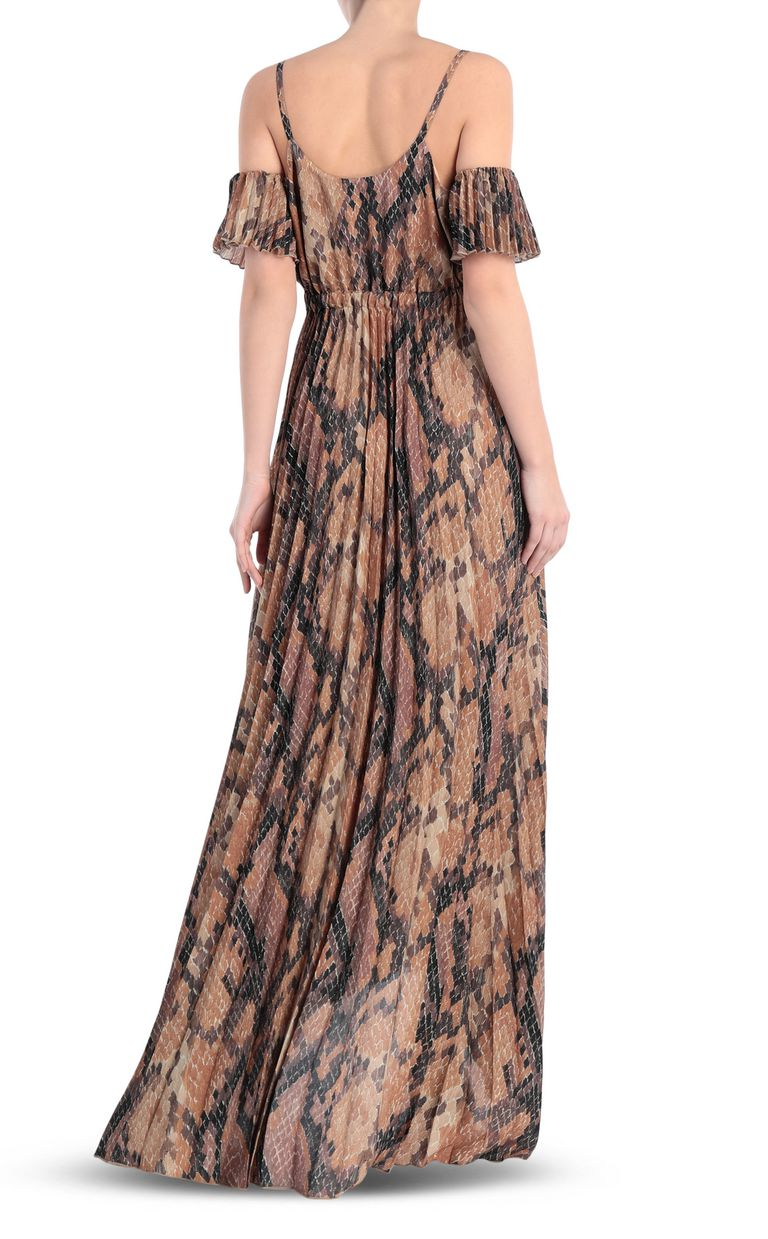JUST CAVALLI Long pleated dress in python print Long dress Woman r