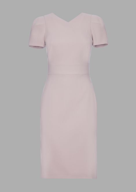 Kleid aus Wollkrepp mit Ausschnitt in Layering-Optik