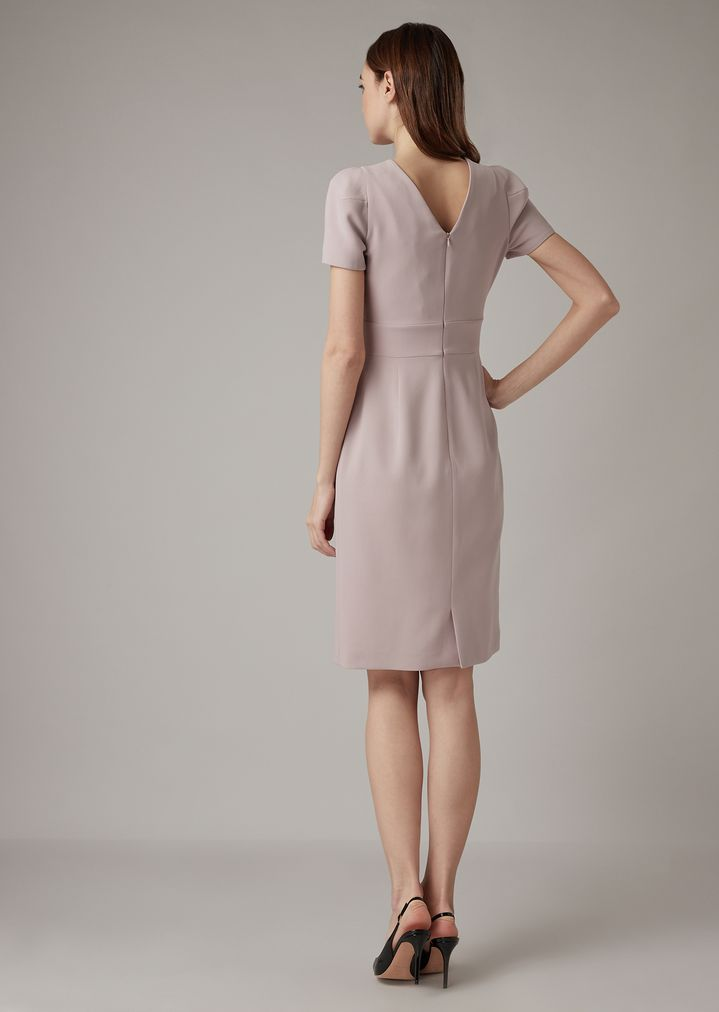 e306bb95a ... Vestido de crepé de lana con escote con efecto superpuesto. GIORGIO  ARMANI