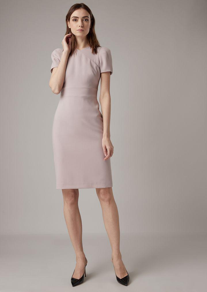 867765f2c Vestido de crepé de lana con escote con efecto superpuesto