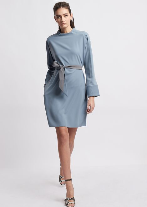 Dress with waist sash and contrasting details