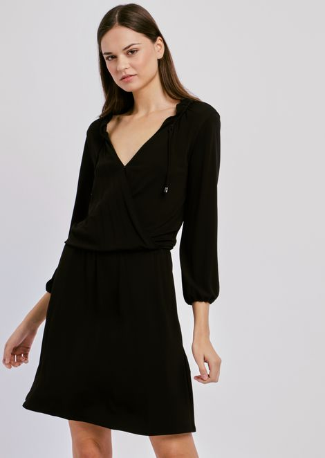 Viscose dress with V-neck and side ties