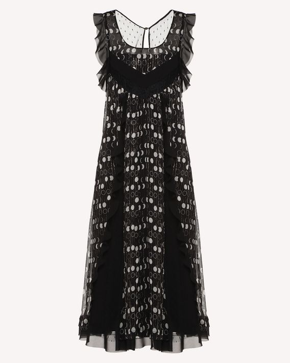REDValentino Lamé silk crepon dress with Moon Phases print