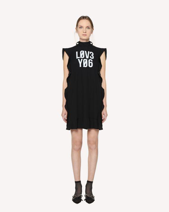 REDValentino Robe en crêpe envers satin avec imprimé «Love You»