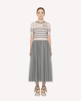 REDValentino  Space embroidered long knit dress with point d'Esprit tulle