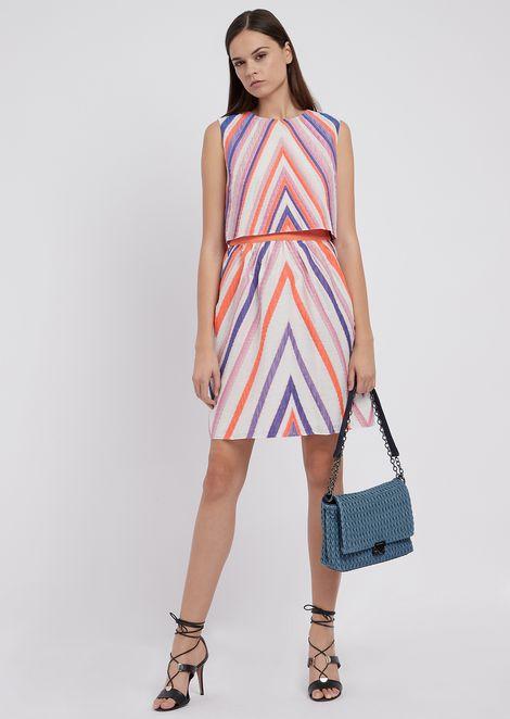 Two-piece effect dress in macro jacquard fabric
