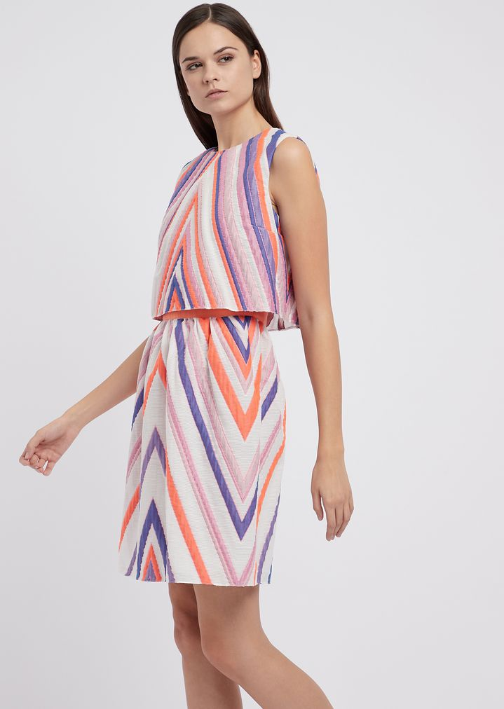 2b50bc8d3e Two-piece effect dress in macro jacquard fabric | Woman | Emporio Armani