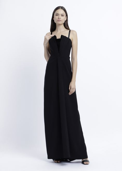 Long dress with stiff lined bodice and patent leather details