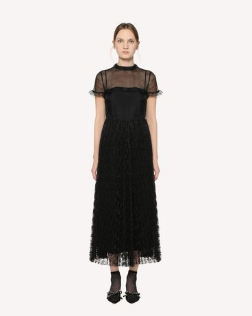 REDValentino Silk organza and lace dress with rhinestone detail