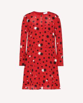 REDValentino Vestido de seda con estampado de estrellas y sombras