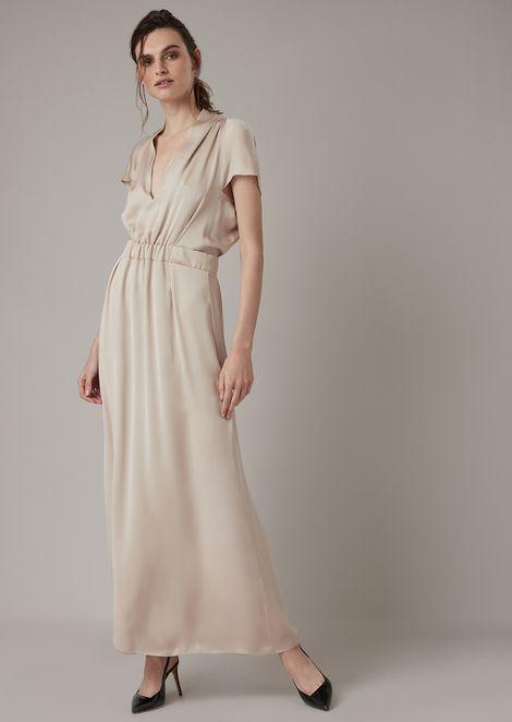Long dress in silk muslin with kimono sleeves