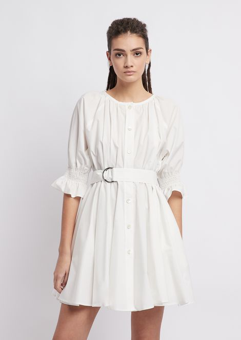 Garment washed shirt dress in compact muslin