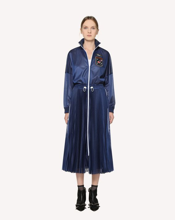 REDValentino Jersey mesh pleated dress with embroidered space patches