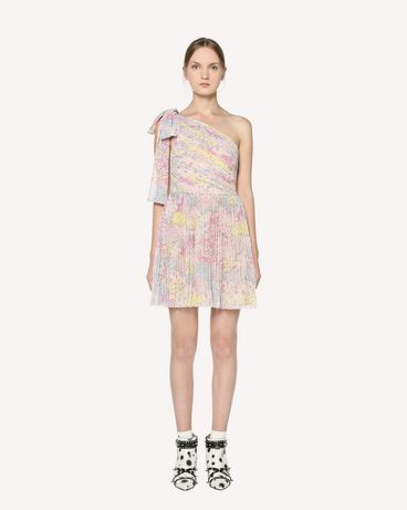REDValentino One-shoulder chiffon dress with Cascading Stars print and bow detail