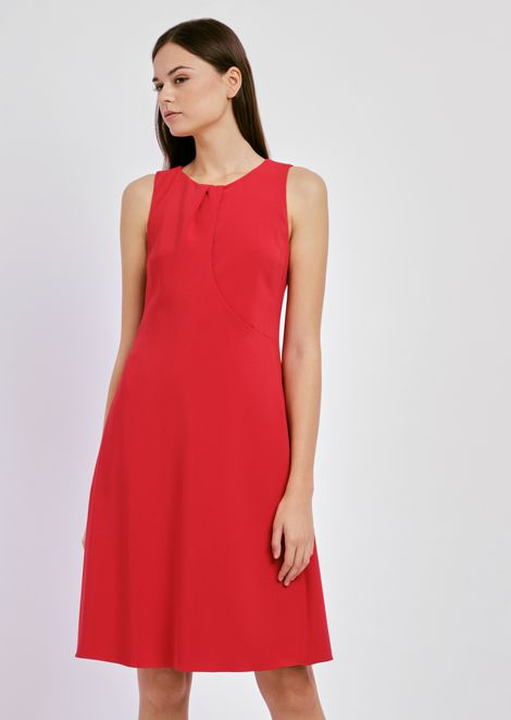 Flared dress in cady with cut-out neckline