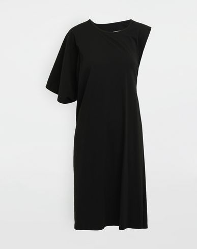 Asymmetrical jersey midi dress