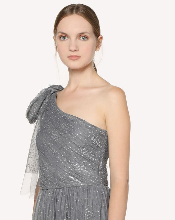REDValentino One-shoulder long tulle dress with bow detail