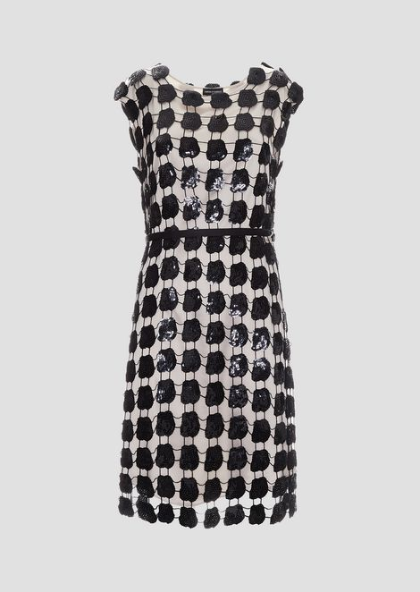 Macramé dress with flowers covered in sequins