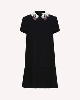 REDValentino Crêpe envers satin dress with swallow bird patches