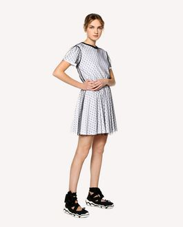 REDValentino Jersey dress with point d'esprit tulle