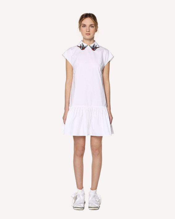 REDValentino Cotton poplin dress with swallow bird patches