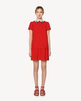 REDValentino Crepe envers satin dress with swallow bird patches