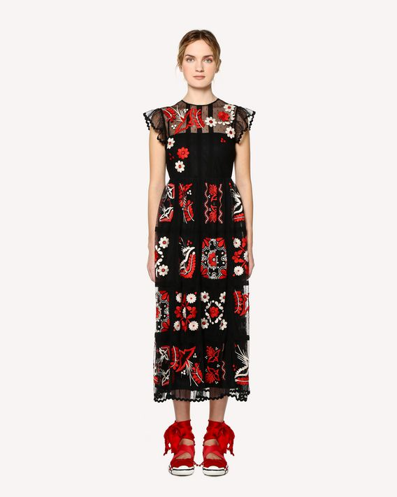 REDValentino Decorated Terrace embroidered tulle dress