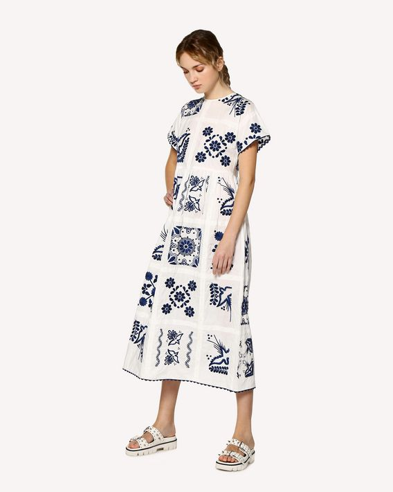 REDValentino Decorated Terrace embroidered cotton poplin dress