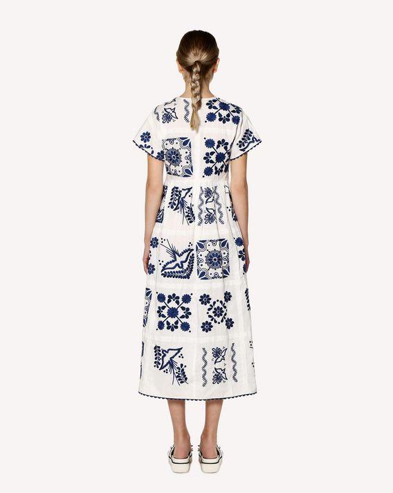 REDValentino Decorated Terrace embroidered cotton poplin dress