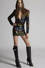 DSQUARED2 Multicolors Silk Embroidered Dress Dress Woman