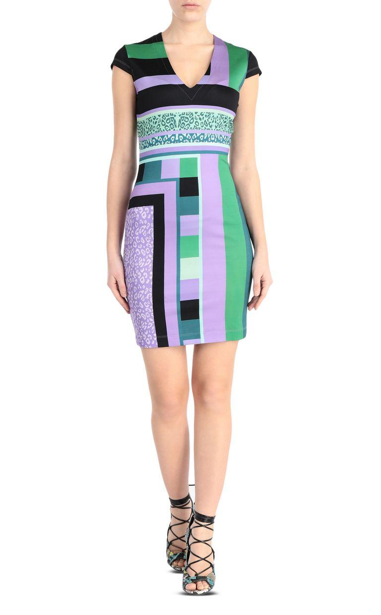 JUST CAVALLI Short scarf-print dress Short dress Woman f