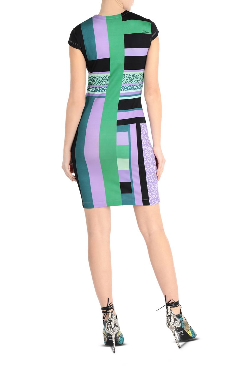 JUST CAVALLI Short scarf-print dress Short dress Woman r