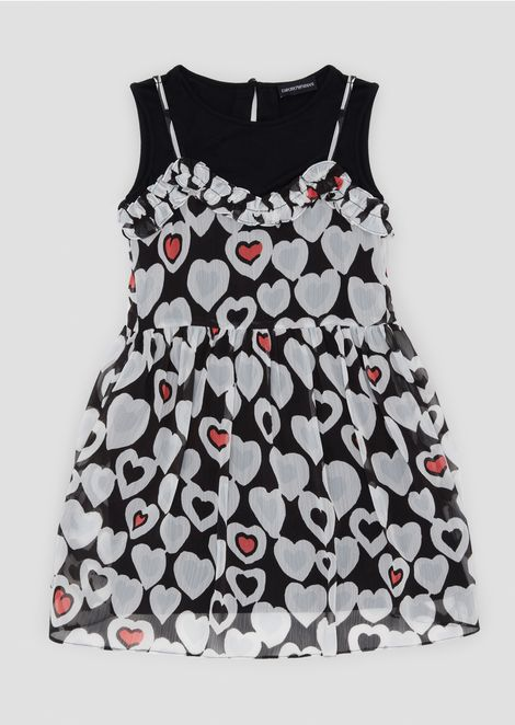 Crêpe dress with all-over heart pattern and jersey top