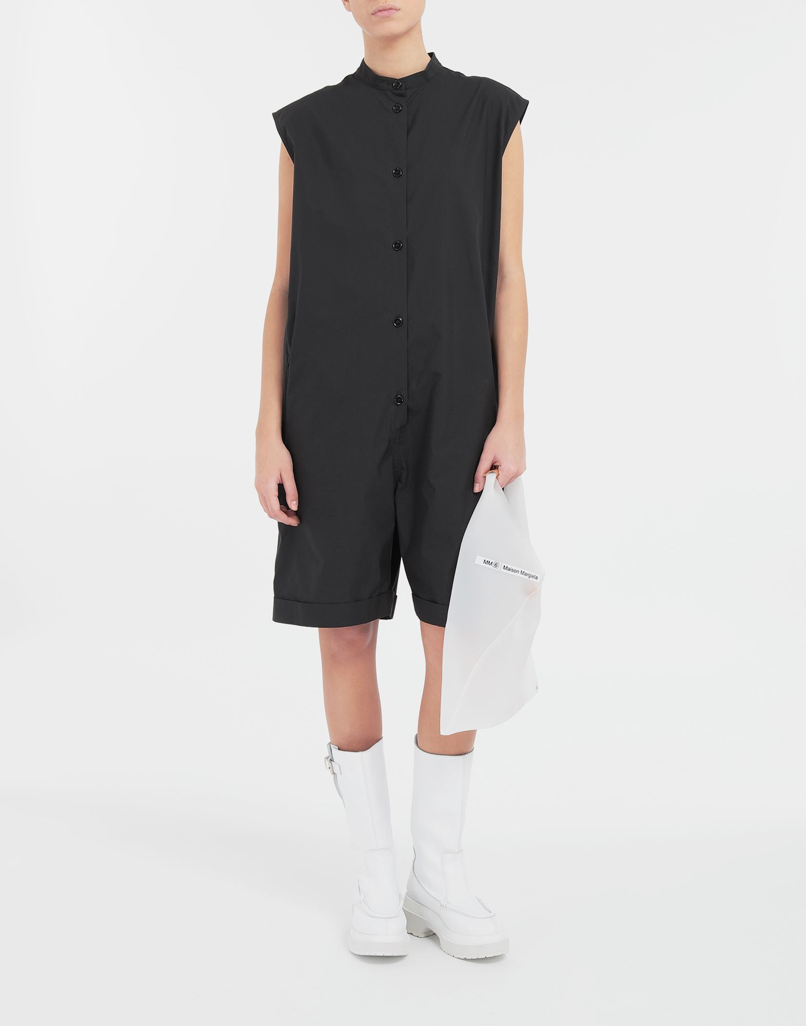 MM6 MAISON MARGIELA Casual cotton-blend playsuit Short dungaree Woman d