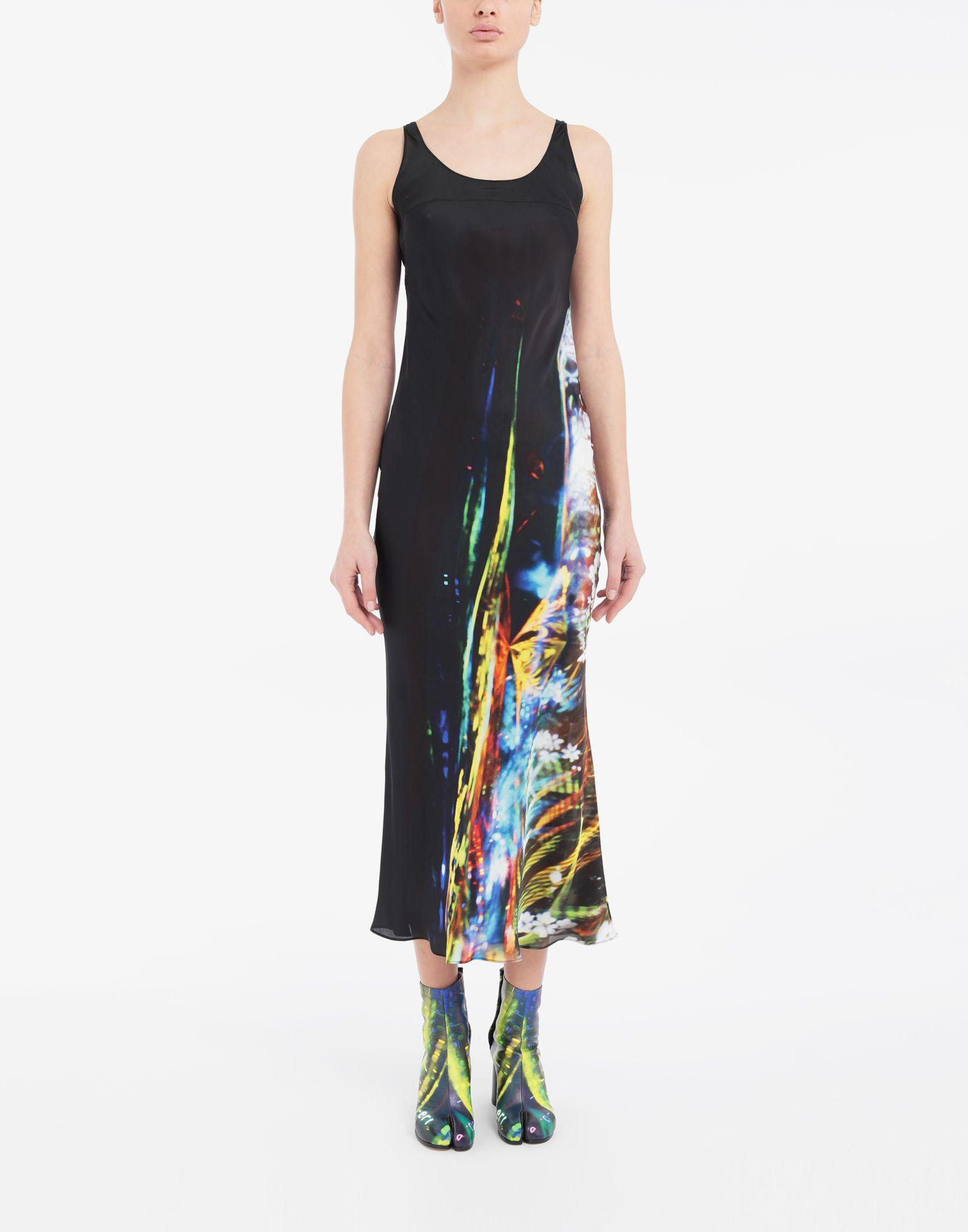 MAISON MARGIELA Moving Metallics-print silk-blend maxi dress Long dress Woman r