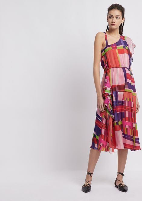 Silk chiffon longuette dress and multicolour check pattern