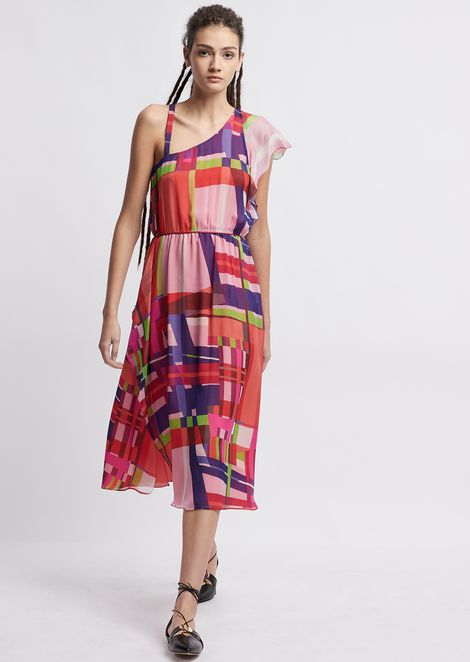 Silk chiffon longuette dress and multicolor check pattern