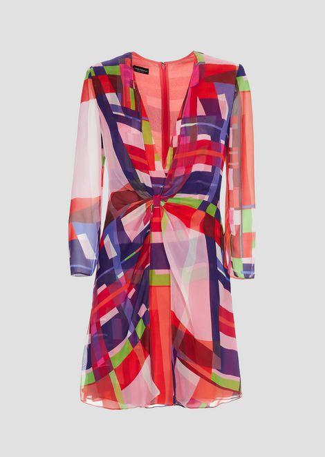 Silk chiffon mini dress and multicolor check pattern