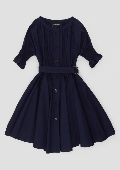 Shirt dress outfit in cotton poplin and belt