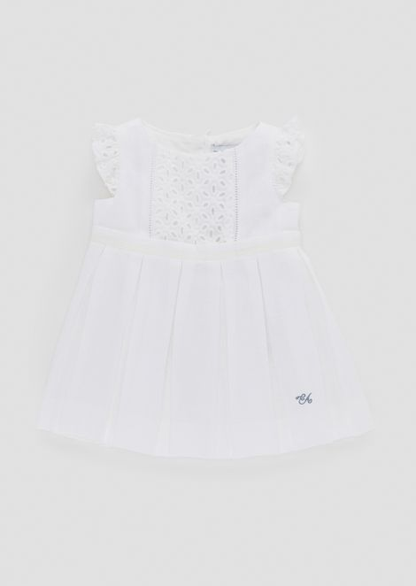 Linen dress with broderie anglaise bodice and sleeves