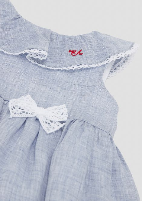Linen dress with full skirt and lace details